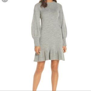 Eliza J Gray Sweater Dress With Ballon Sleeves
